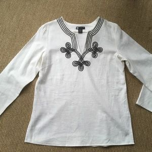 Carole Little White  3/4 Sleeve  Tunic Size 10